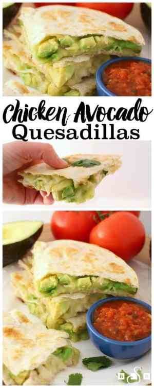 Cheesy Chicken Avocado Quesadillas -- have gooey cheese, big chunks of fresh avocado and chicken mixed with salsa, lime and cilantro!