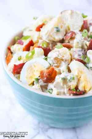 Potato Salad with Bacon and Egg featured from Noshtastic