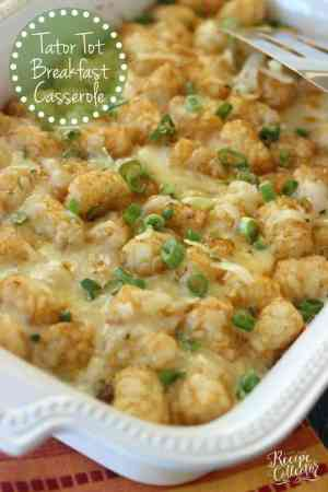 Tator Tot Breakfast Casserole – An easy breakfast casserole filled with breakfast sausage, eggs, pepperjack cheese, green onions and tator tots!