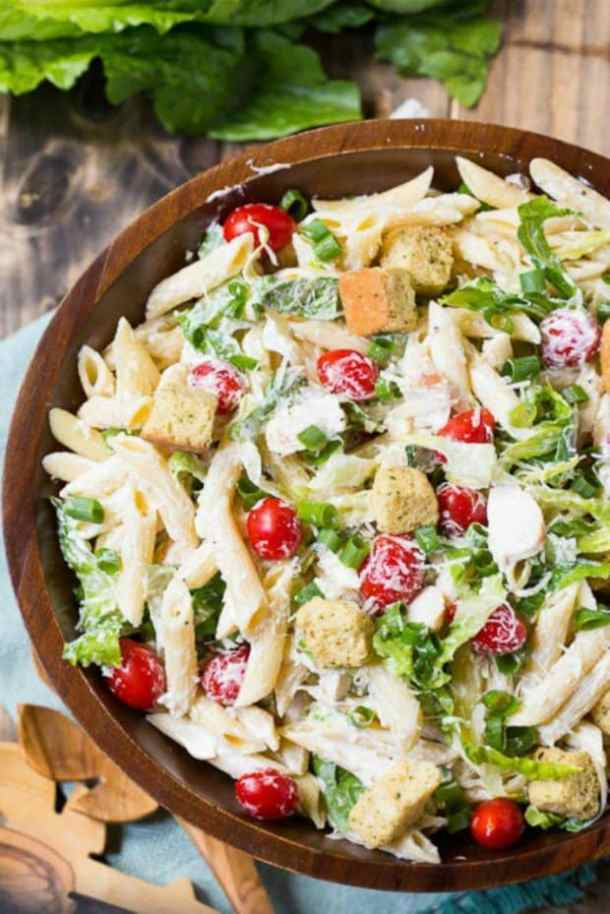 CHICKEN CEASAR PASTA SALAD -- 19+ PASTA SALADS TO BRING SUMMER BACK INTO YOUR LIFE