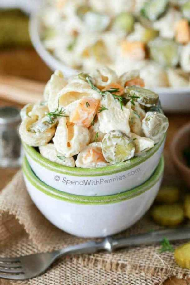 DILL PICKLE PASTA SALAD -- 19+ PASTA SALADS TO BRING SUMMER BACK INTO YOUR LIFE