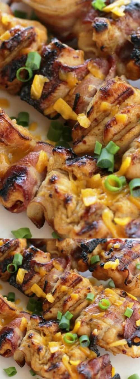 honey mustard chicken bacon skewers