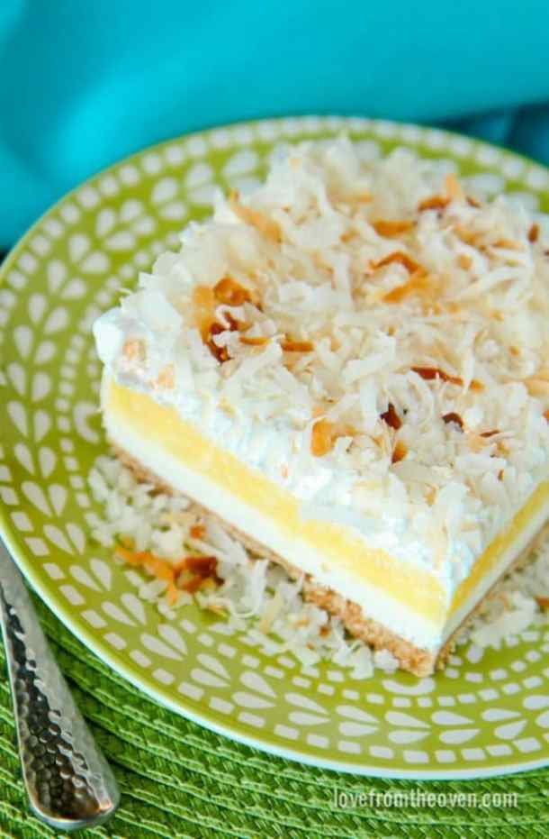 COCONUT CREAM CHEESECAKE BARS--31+ COCONUT DESSERTS THAT WILL SATISFY YOUR SWEET TOOTH!