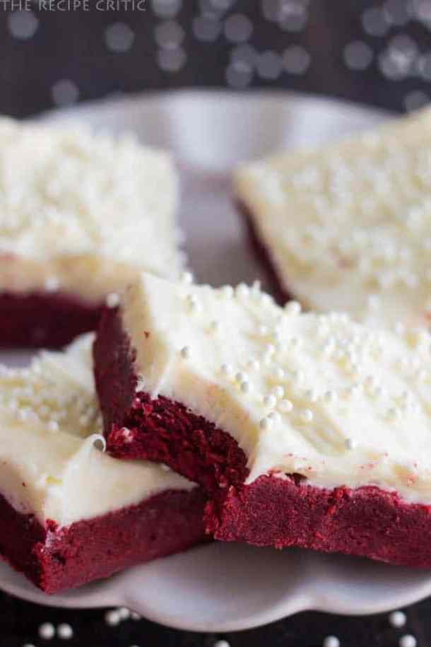 Red Velvet Sugar Cookie Bars with Cream Cheese Frosting -- Part of the Valentines Day Dessert