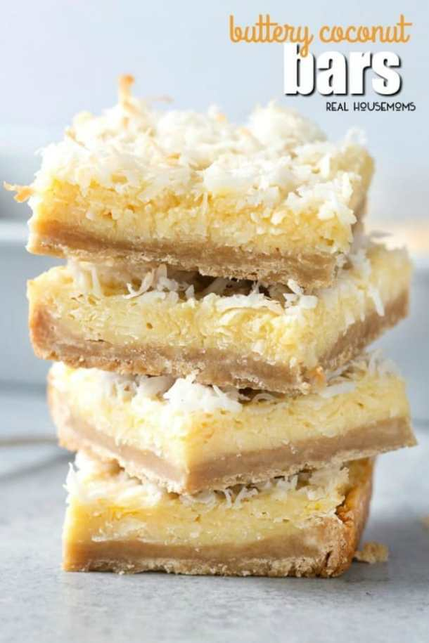 BUTTERY COCONUT BARS--31+ COCONUT DESSERTS THAT WILL SATISFY YOUR SWEET TOOTH!