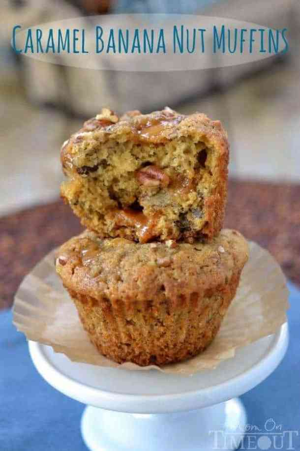 Caramel Banana Nut Muffins -- Part of our 18 Recipes that prove that CARAMEL and BANANAS were meant to go together!
