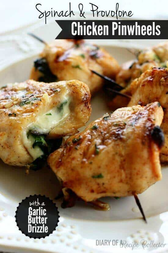 Spinach and Provolone Chicken Pinwheels