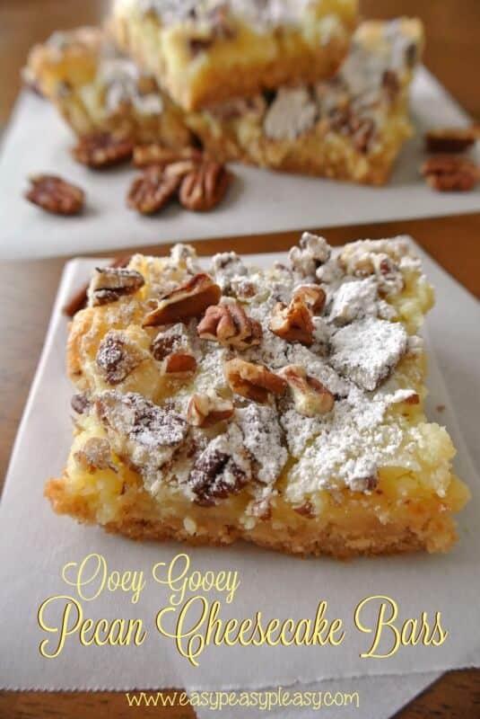 Ooey Gooey Pecan Cheesecake Bars
