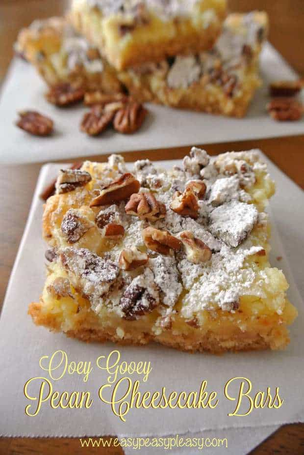 TheseOoey Gooey Pecan Cheesecake Barsrecipe fromEasy Peasy Pleasyhave just a little cake mix, some cream cheese, butter and it makes one heck of a dessert! It's a simple recipe that is easy to make and they turn out fabulous every single time!