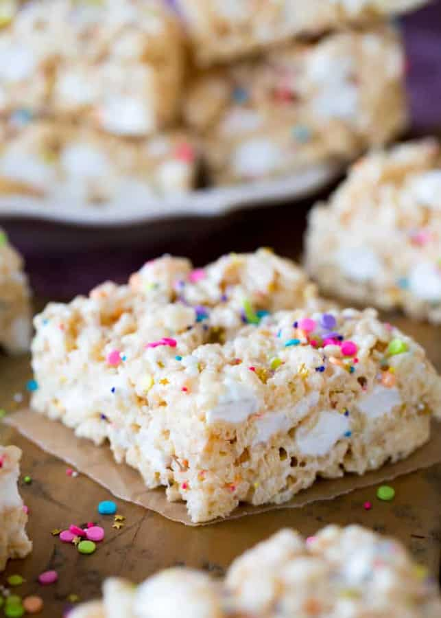Extra marshmallows, premium butter, a splash of vanilla extract, and plenty of sprinkles. That's how I like my Rice Krispie Treats, and I think you're going to love this gourmet twist on this classic treat, too!