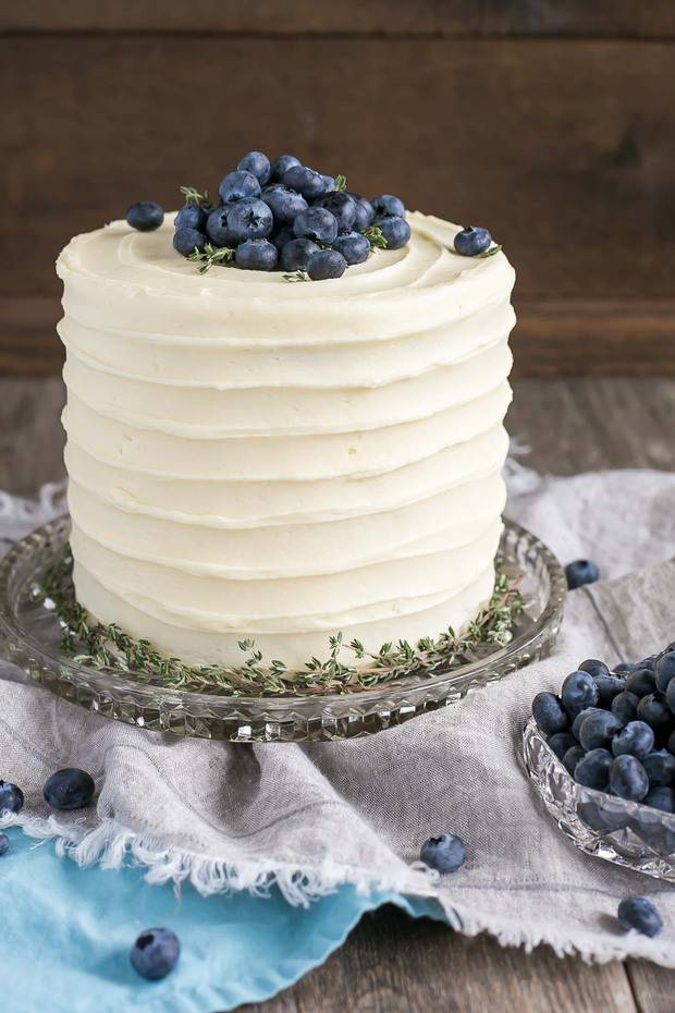 The delicious combination of bananas and blueberries gets paired with a tangy cream cheese frosting in this Blueberry Banana Cake.