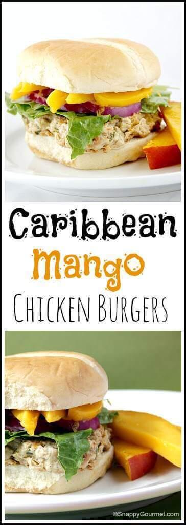 9 Carribbean Mango Chicken Burgers