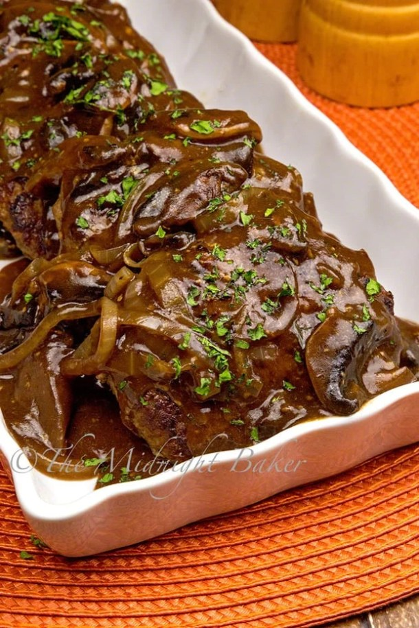 Chopped Sirloin Patties with Savory Gracy -- part of Old Fashioned Hamburger Steaks with Mushroom Onion Gravy