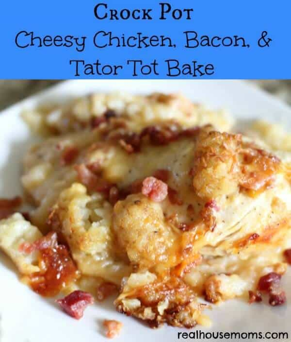 ThisCrock Pot Cheesy Chicken, Bacon, & Tater Tot Bakerecipe from Real Housemoms is a delicious and super easy meal to put together that your whole family will really love! It's cheesy, bacon-y, and the Crock Pot does all of the hard work for you.