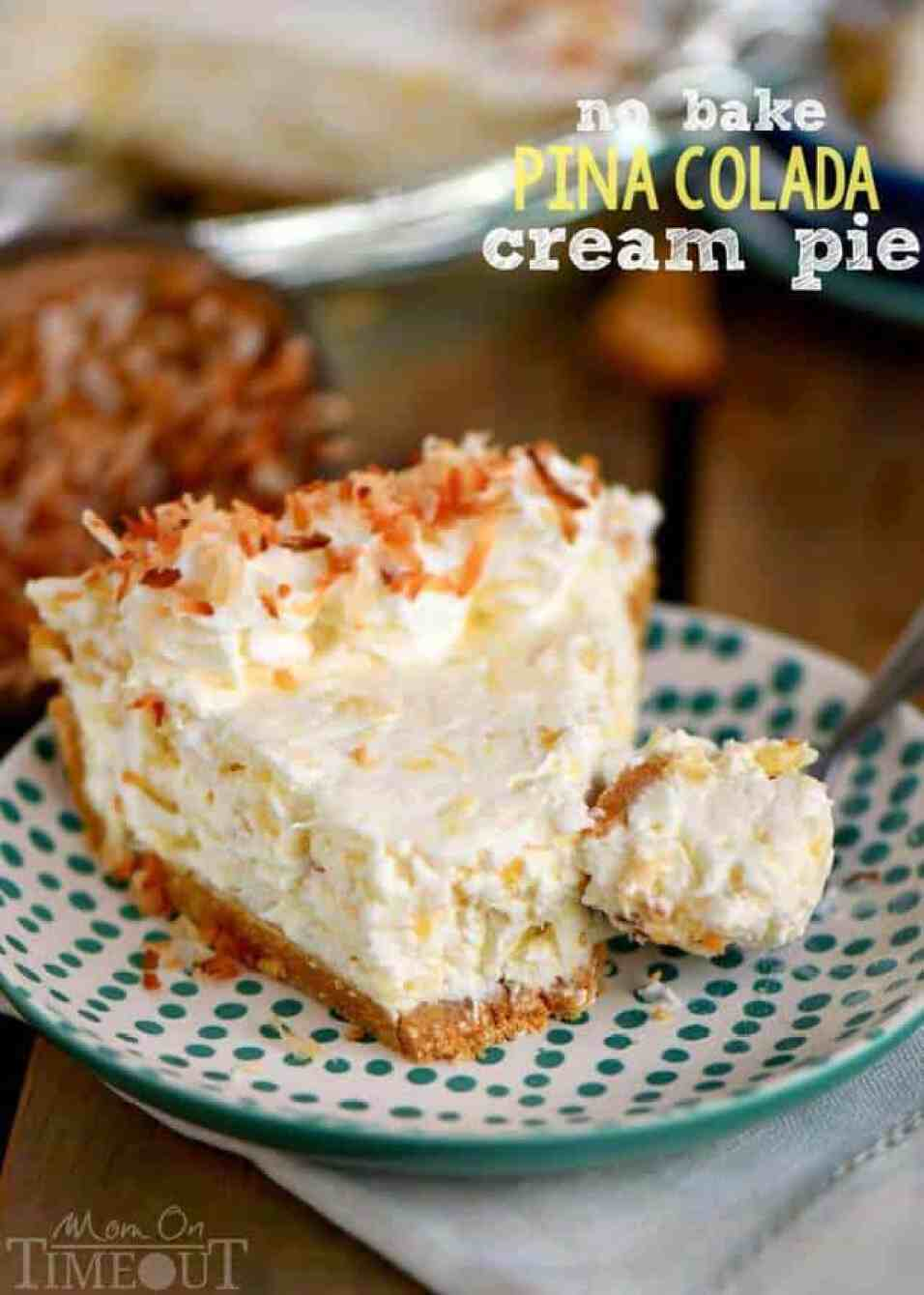 No Bake Pina Colada Cream Pie