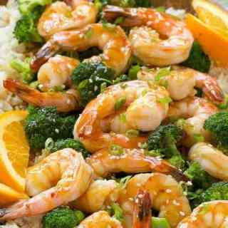 Orange Shrimp and Broccoli with Garlic Sesame Fried Rice