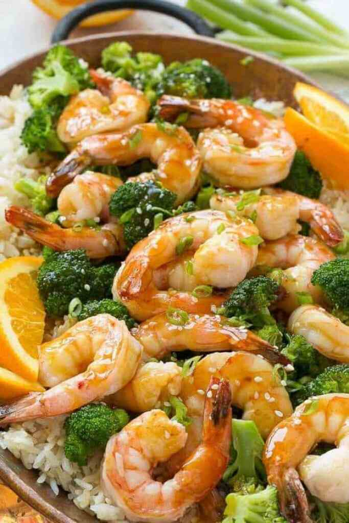 ORANGE SHRIMP AND BROCCOLI WITH GARLIC SESAME RICE