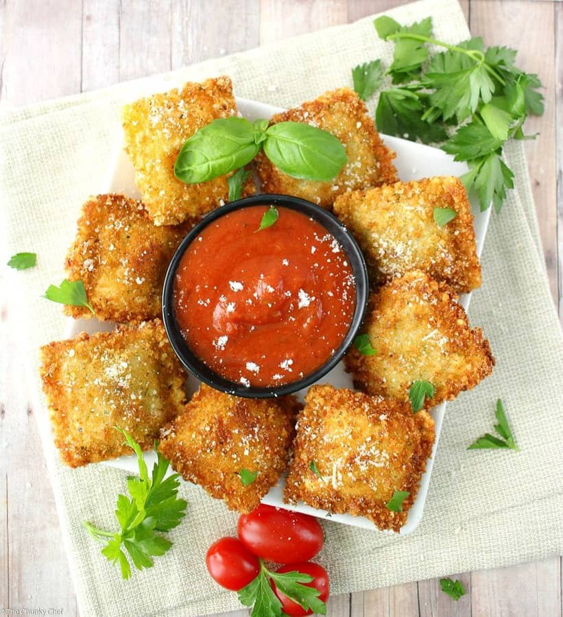 Like Olive Garden's toasted ravioli, but better! This crispy fried ravioli is easy to make, yet impressive. Perfect for a party, or the family dinner table.