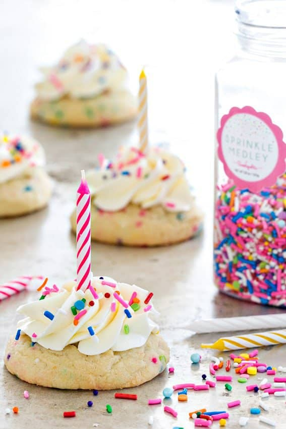 Birthday Cake Cookies are everything you love about birthday cake in cookie form – sprinkles, buttercream frosting, and more sprinkles.