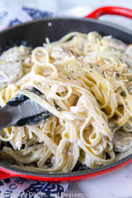 Fettuccine Alfredo with Chicken Sausage - Thick and creamy fettuccine Alfredo made quick and easy with roasted garlic chicken sausage