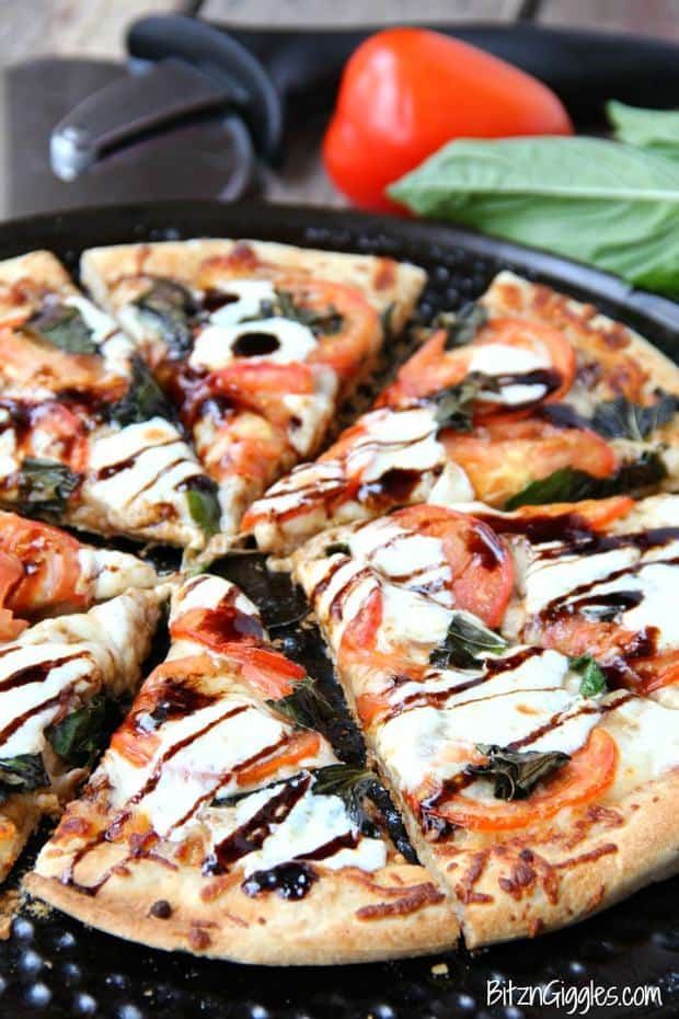 The fresh ingredients MAKE this pizza. The balsamic glaze adds a little bit of sweetness, and the thin crust gives the pizza such a nice crunch. I've been known to make this pizza for lunch during the week when I'm pressed for time. Even though it uses fresh ingredients, the prep time is quick!