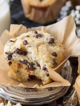16. Bakery Style Chocolate Chip Muffins-- Part of The Best Chocolate Chip Recipes