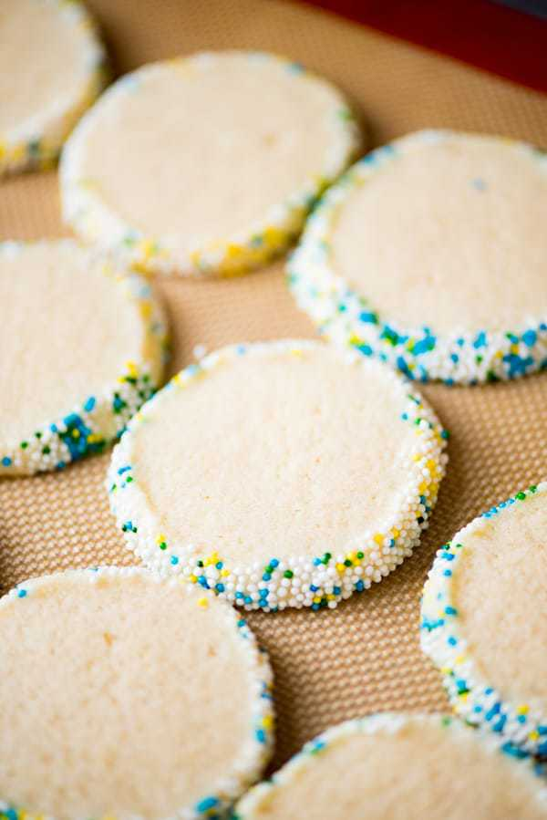 It takes just 5 minutes to whip up these classic Slice andBake Sugar Cookies! Roll the dough in festive sprinkles for any occasion!