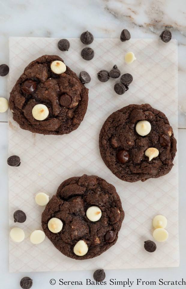 Double Chocolate Chip Cookies are chewy chocolate cookies filled with white chocolate and semi sweet chocolate chips from Serena Bakes Simply From Scratch.