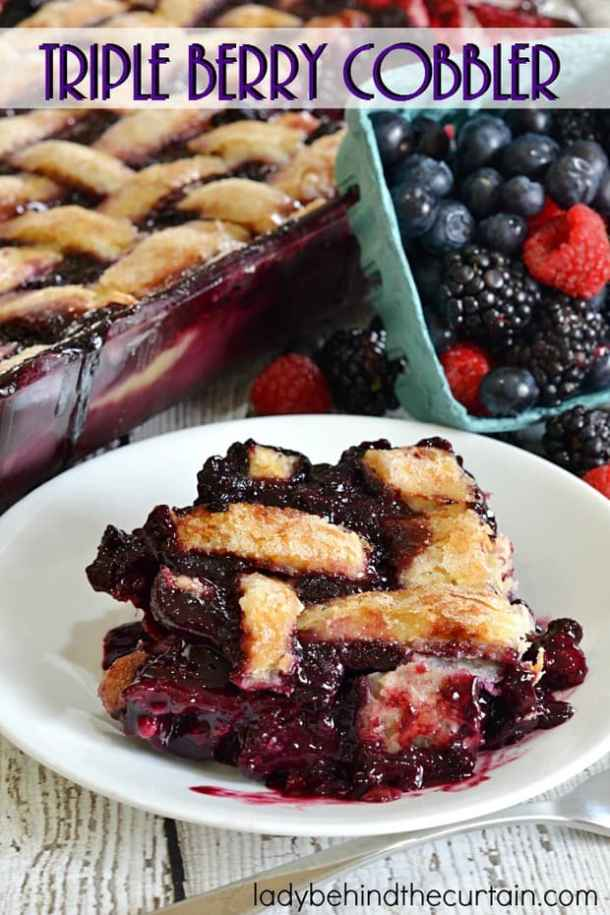 Triple Berry Cobbler -- part of GRANDMA'S FAVORITE OLD FASHIONED COBBLER RECIPES