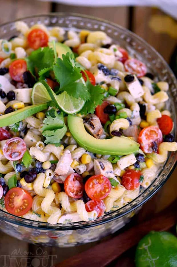 Creamy Cilantro Lime Southwestern Pasta Salad recipe is satisfying enough for an easy dinner or a tasty addition to any party, BBQ or get together! Grilled chicken, black beans, corn, tomatoes, and a creamy cilantro lime dressing make this pasta salad exceptionally delicious!