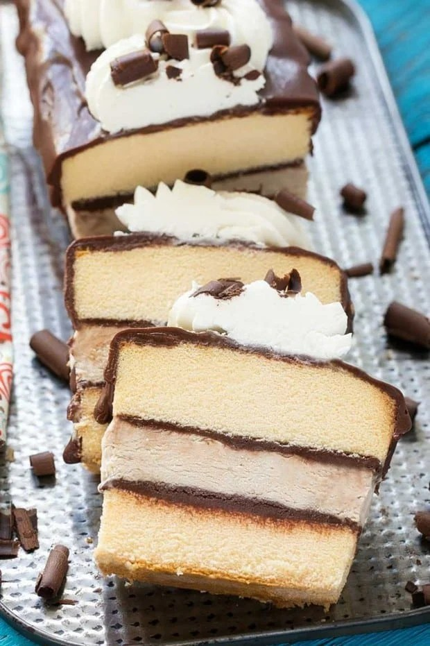 This tiramisu ice cream cake layers no-churn coffee ice cream, cake and chocolate for a decadent treat that's great for entertaining.
