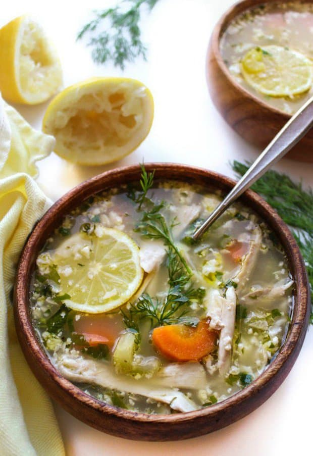 Lemon Chicken Soup with Cauliflower Rice| A light & healthy soup with a whole lot of zip. Whole 30 + Gluten Free + One Pot