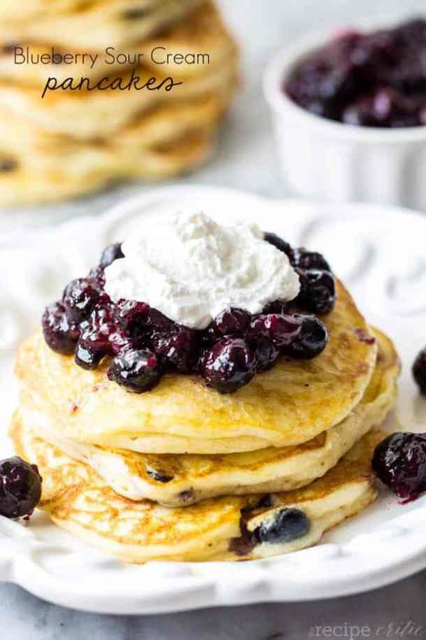 Blueberry Sour Cream Pancakes-- Part of THE BEST PANCAKE RECIPES
