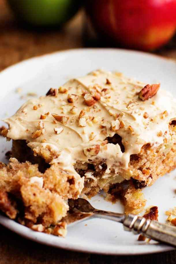 APPLE PECAN SPICE CAKE WITH BROWN SUGAR CREAM CHEESE FROSTING -- part of 21+ Pecan Recipes Perfect for Fall Baking