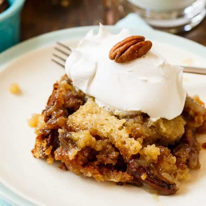 This Pecan Pie Cake tastes just like pecan pie but in cake form. I think it tastes even better than pecan pie. It's made from a box of butter pecan cake mix with lots of butter, brown sugar, and eggs added.