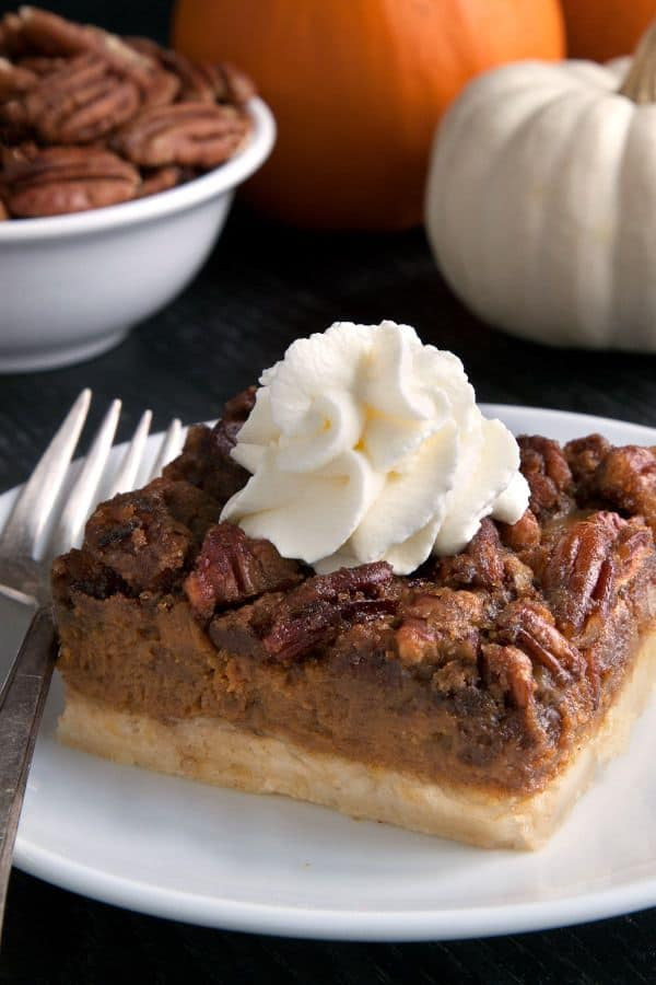 Pumpkin pecan pie bars with a homemade sugar cookie crust, pumpkin filling and a pecan streusel topping. With a gluten-free option.