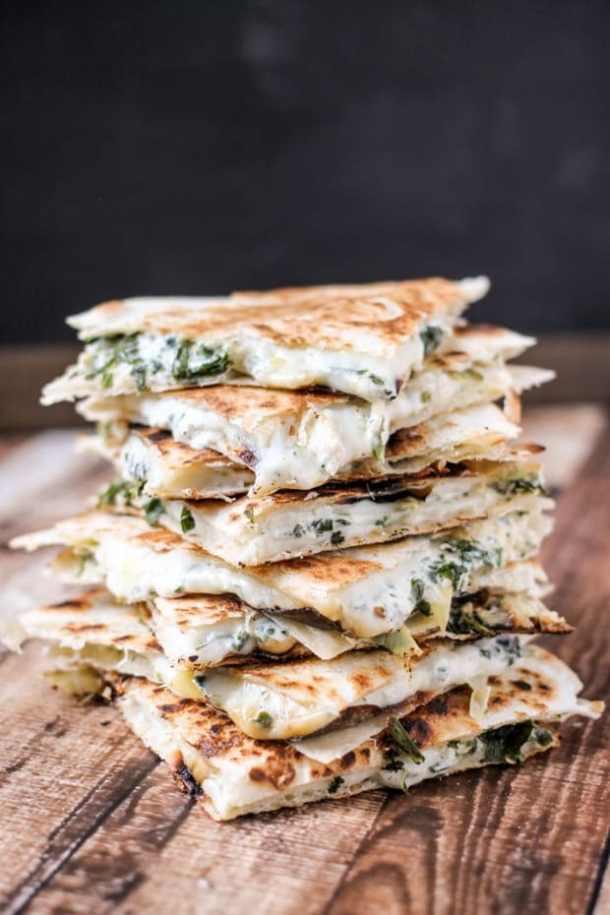 Spinach Artichoke Quesadillas--Part of THe Best Quesadillas Recipes