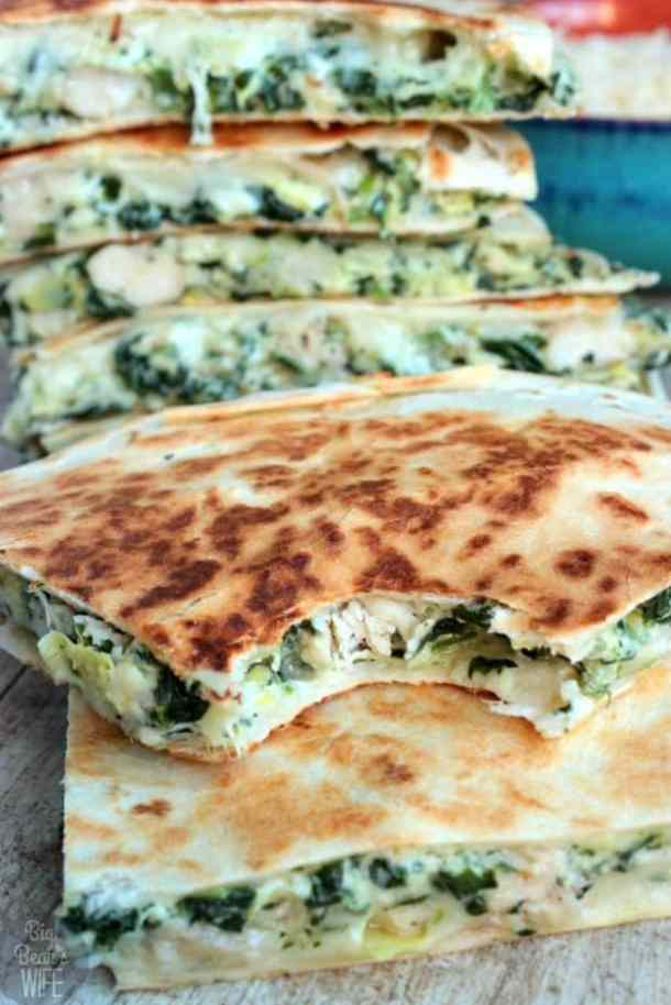 Spinach and Artichoke Chicken Quesadillas--Part of THe Best Quesadillas Recipes