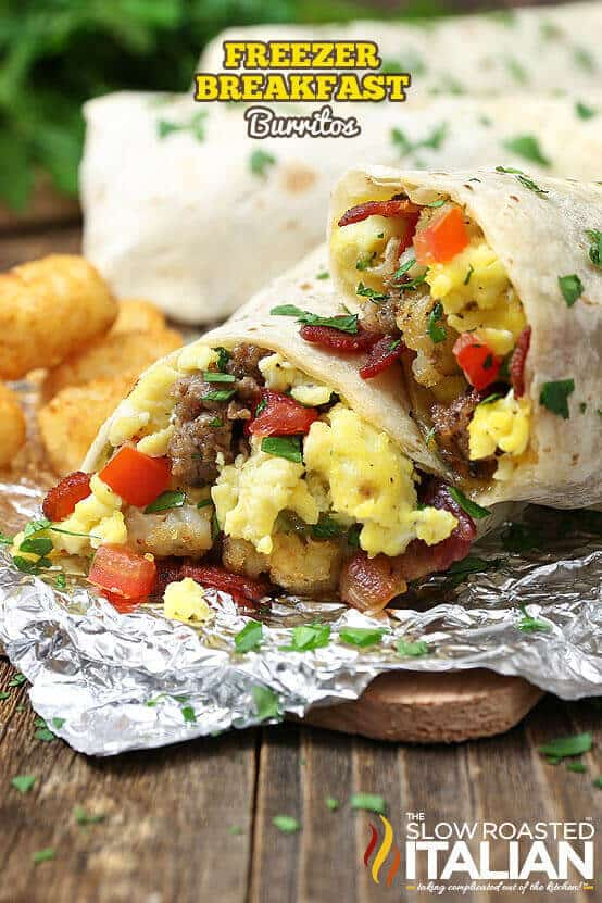 These breakfast burritos are loaded with all of your favorite breakfast fillings. Eggs, bacon, sausage, tater tots, oh my! They make the perfect hot breakfast for your family when they need something in a hurry that they can microwave before school and work.