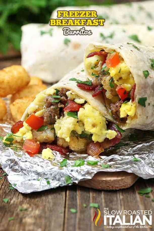 Freezer Breakfast Burritos -- part of Cheesy Breakfast Recipes PERFECT for Saturday Mornings