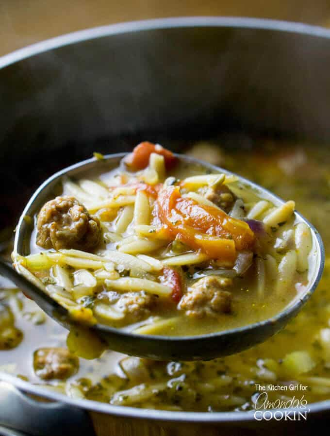 Italian Sausage Tomato Orzo Pepper Soup