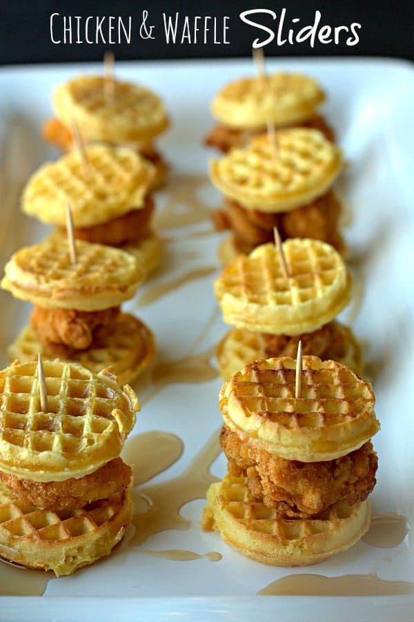 I present to you Chicken & Waffle Sliders. I took the classic comfort food chicken and waffles and turned it into a portable appetizer that is perfect for your next get together. These aren't just for game day, you could even serve them at a brunch.