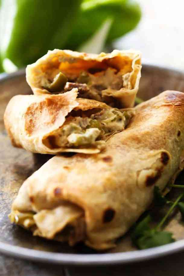 Philly Cheese Steak Chimichangas -- Part of The Best Philly Cheesesteak Recipes