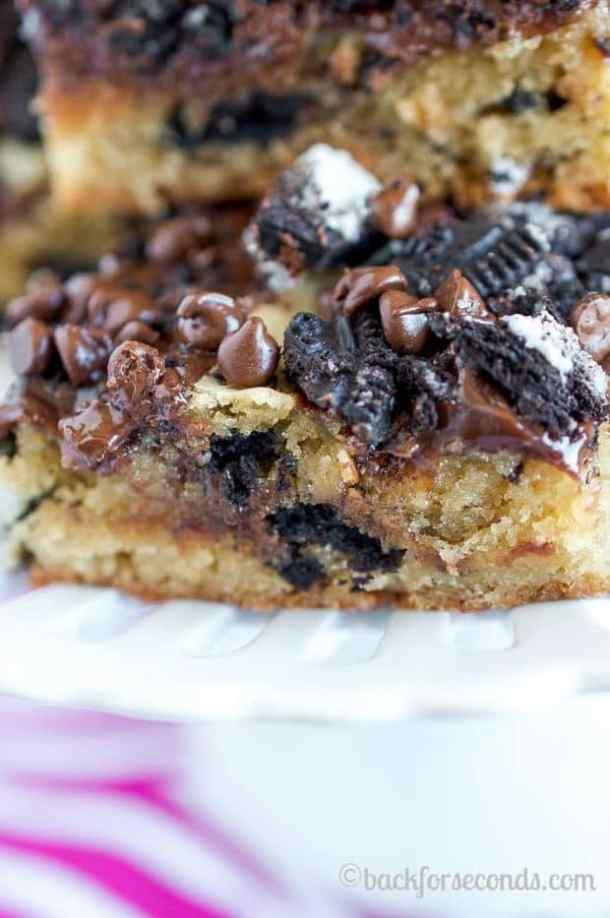 Hot Fudge Oreo Blondies -- Part of The Best Hot Fudge Dessert Recipes