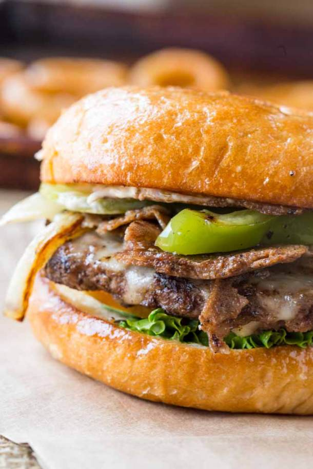 Philly Cheesesteak Burgers -- Part of The Best Philly Cheesesteak Recipes
