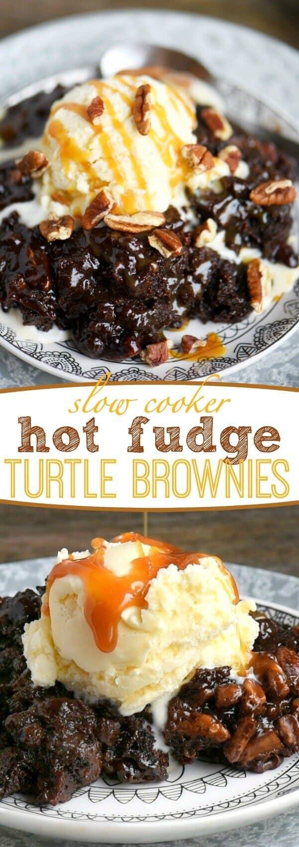 Slow Cooker Hot Fudge Turtle Brownies