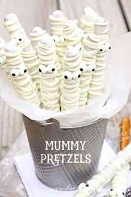 White Chocolate Mummy Pretzels