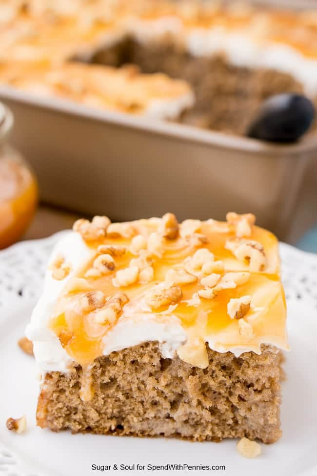 Caramel Spice Poke Cake is a sinfully sweet andseasonal dessert you'll want to make again and again. An adapted box mix cake soaked in sweetened condensed milk sets the foundation for a delicious and easy fall treat. Once you layer on the whipped cream and caramel, it's game over. This cake is crazy-good and perfect for the holidays, potlucks, and Sundaysupper.