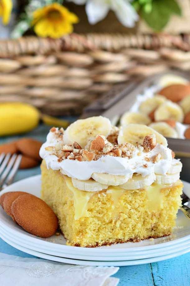 Banana Pudding Poke Cake -- Part of Super Moist Poke Cake Recipes
