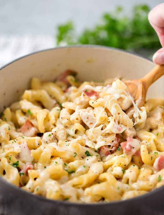 Classic chicken cordon bleu flavors combine with creamy pasta in this easy one pot meal. Perfect for a weeknight, it's sure to be a family favorite!
